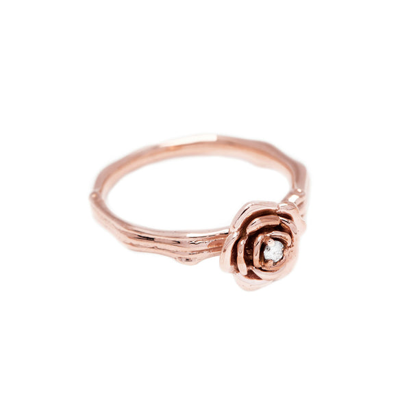 Tea Rose Diamond Twig Ring