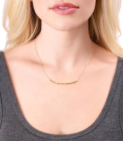 Taner Bar Small Necklace - Rose Gold