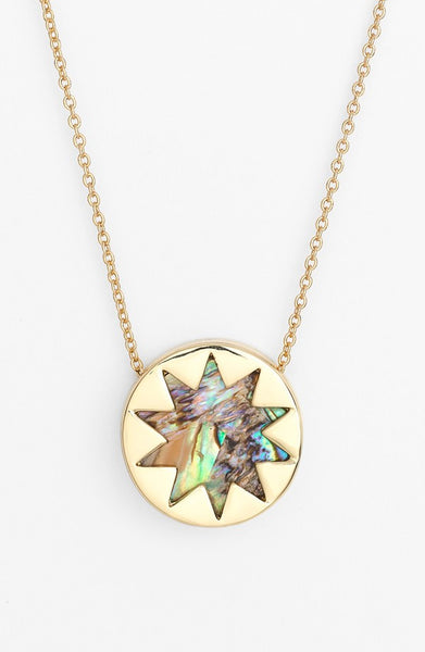 ABALONE SHELL MINI SUNBURST PENDANT NECKLACE