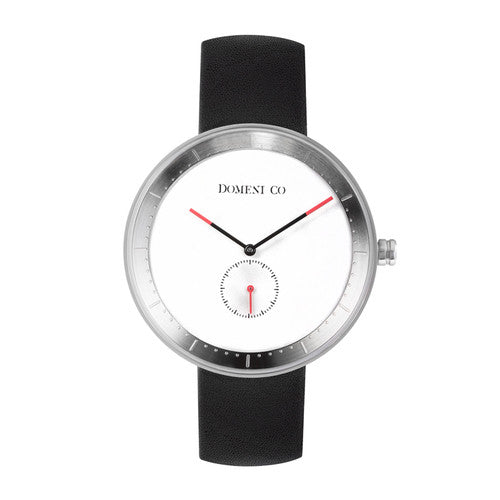Domeni Co Signature Leather Watch - White Dial and Silver Rims