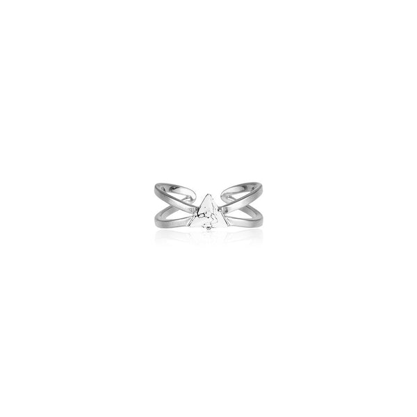 Criss Cross Marble Ring - Silver