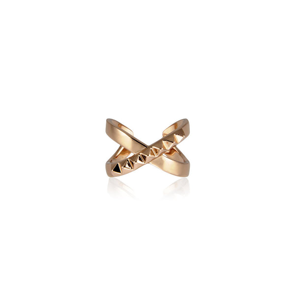 The Criss Cross Punk Stud Ring - Rose Gold