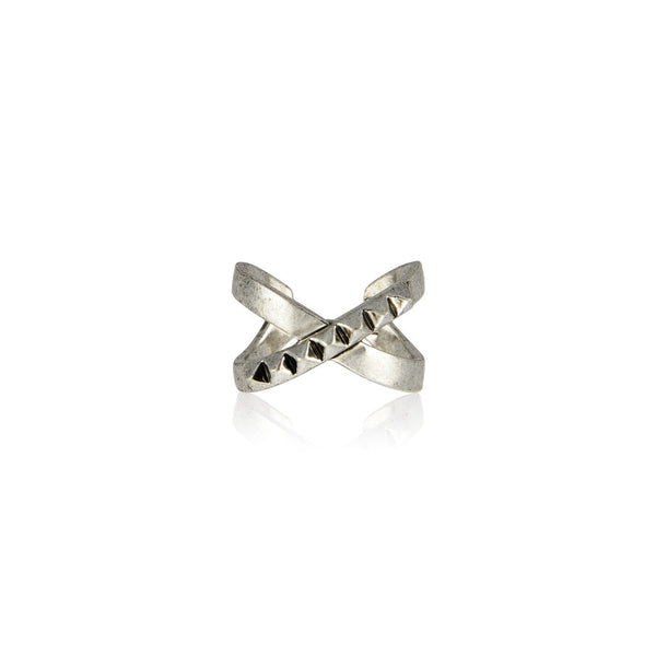 The Criss Cross Punk Stud Ring - Silver