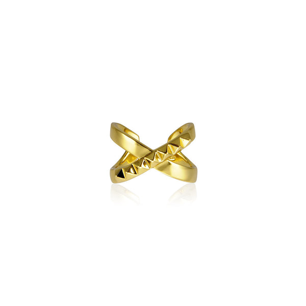 The Criss Cross Punk Stud Ring - Gold