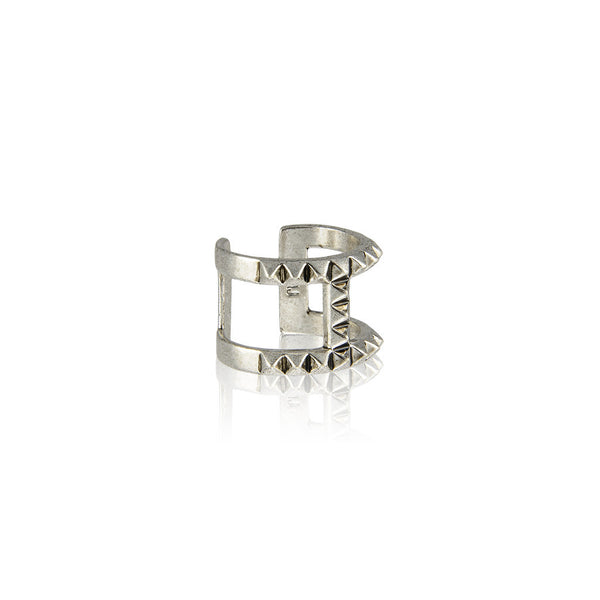 The T-Bar Punk Stud Ring - Silver