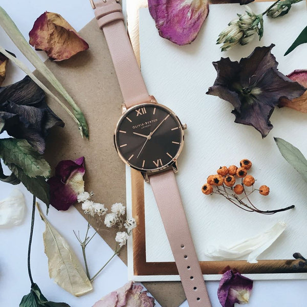 BROWN DIAL AND ROSE GOLD WITH DUSTY PINK STRAP