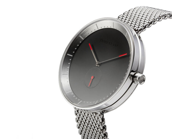 Domeni Co Signature Silver Mesh Watch - Black Face