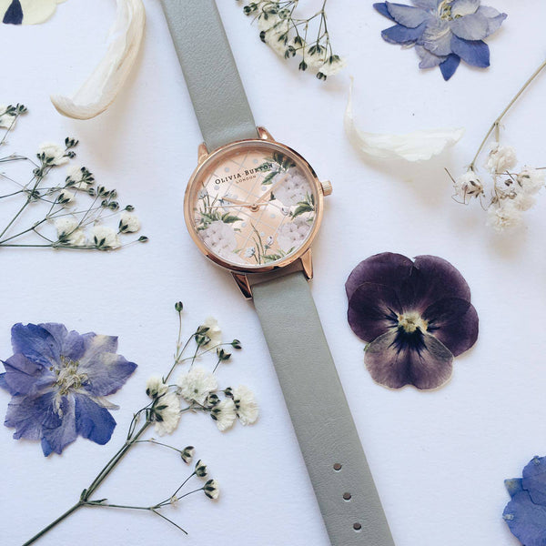 DOT DESIGN - FLORAL IN ROSE GOLD DIAL & GREY STRAP