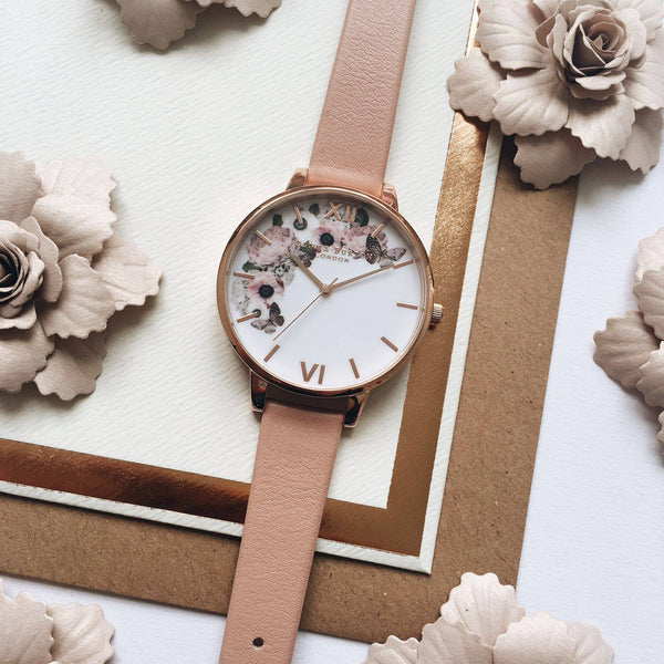 ENCHANTED GARDEN WHITE DIAL WITH DUSTY PINK STRAPS