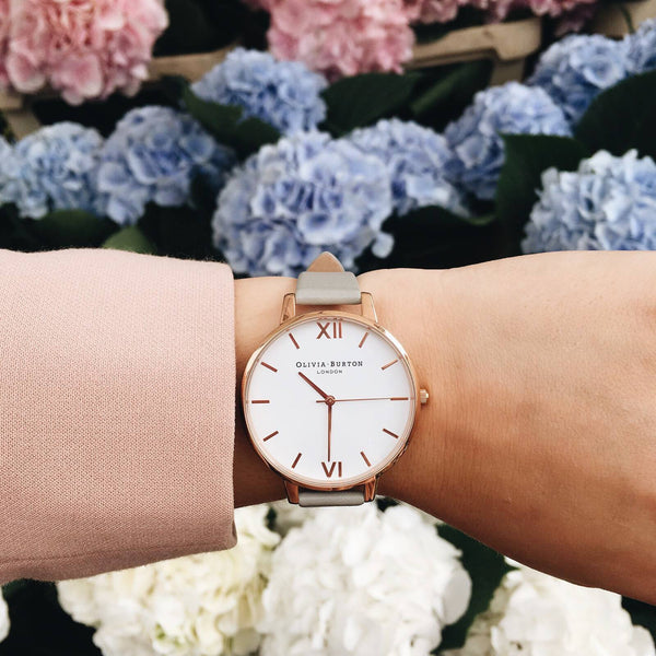 WHITE DIAL GREY & ROSE GOLD