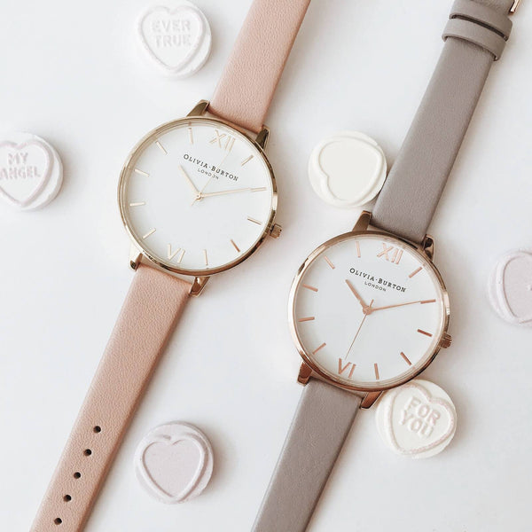 WHITE DIAL DUSTY PINK STRAP & GOLD