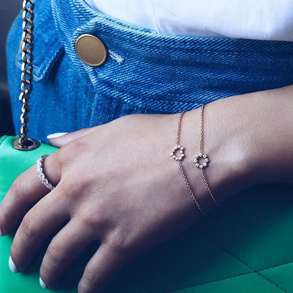 (PRE-ORDER) Petite Diamond Heart Bracelet in Rose Gold
