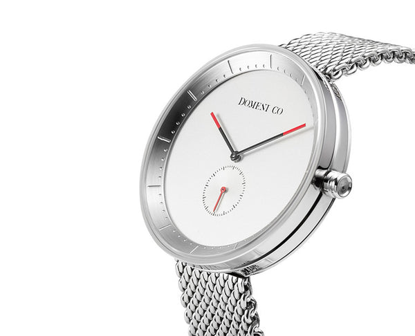 Domeni Co Signature Silver Mesh Watch - White Face