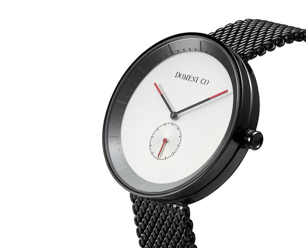 Domeni Co Signature Black Mesh Watch - White Face