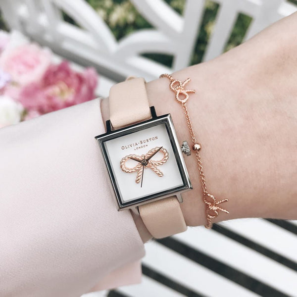 3D Vintage Bow Midi Square Dial Nude Peach, Rose Gold & Silver Watch