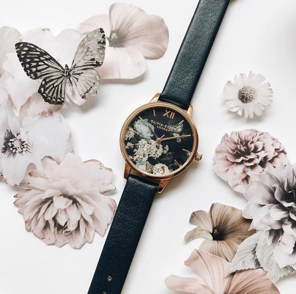 Winter Garden Midi Dial Signature Floral Navy & Rose Gold Watch