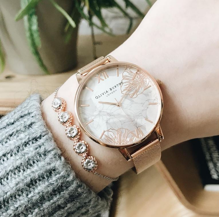 34377f15a2f5 Big Dial Abstract Florals Rose Gold Mesh Watch. OLIVIA BURTON