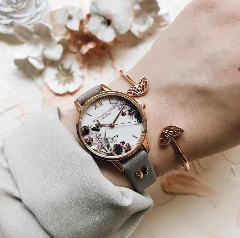 5297ef9f118b Midi dial Enchanted Garden 3D Butterfly Embellished Strap Grey Lilac   Rose Gold  Watch. OLIVIA BURTON