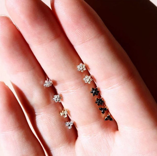Diamond Tria Earrings Rose Gold