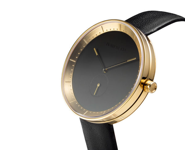 Domeni Co Signature Leather Watch - Black Dial with Gold Rim