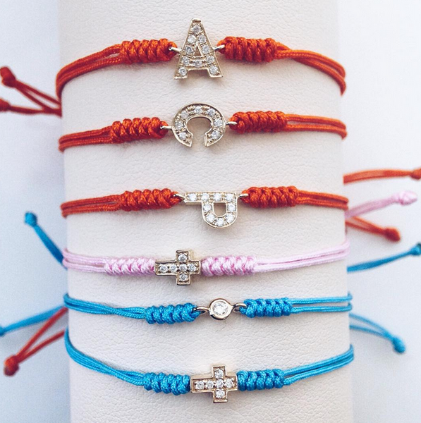 (PRE-ORDER) ORANGE - PRECIOUS DIAMOND MONOGRAM BAMBINO CORD BRACELET