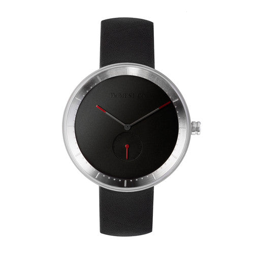 Domeni Co Signature Leather Watch - Black Dial and Silver Rims