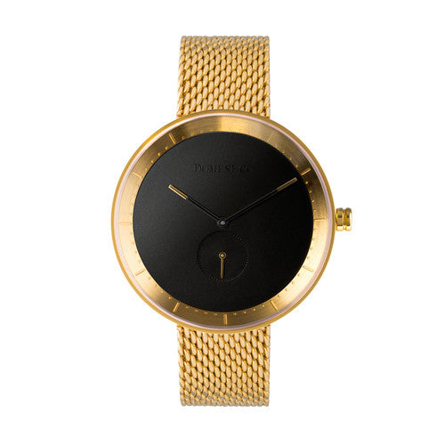 Domeni Co Signature Gold Mesh Watch - Black Face