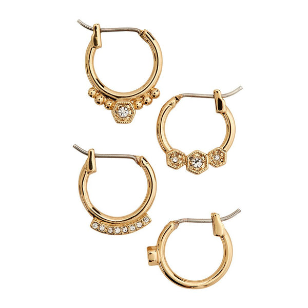 Full Bloom Hoop Earring Set - Gold