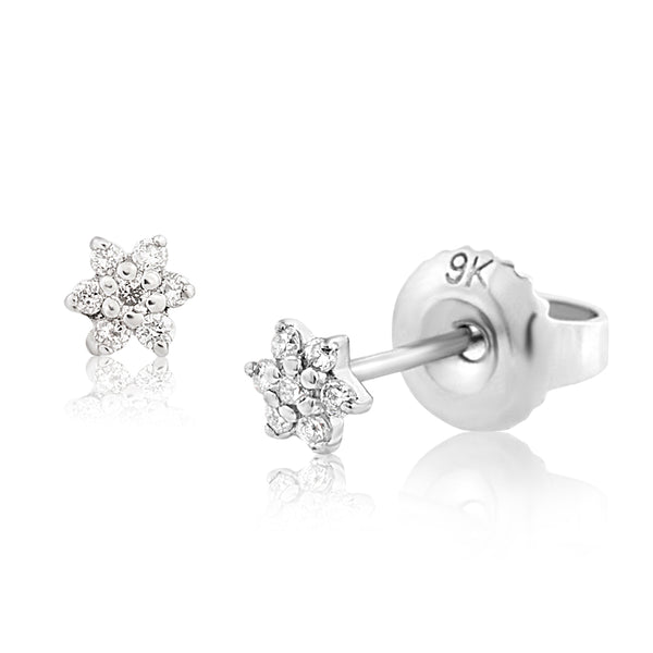 Diamond Floret Earrings White Gold