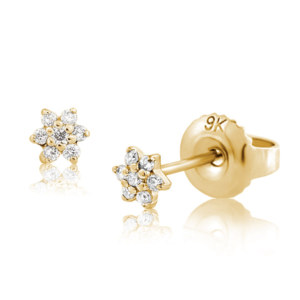 Diamond Floret Earrings Yellow Gold