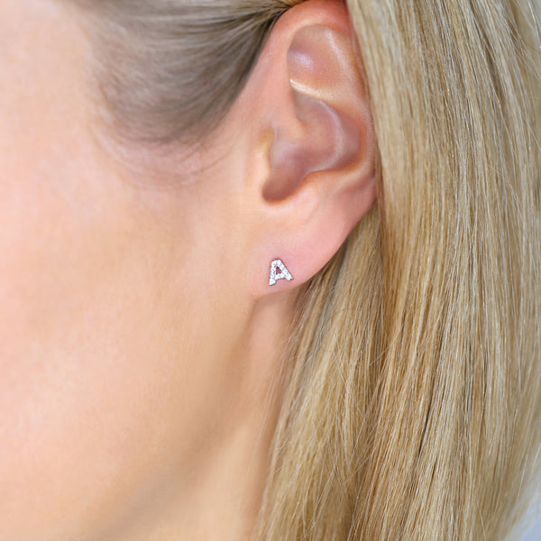 1 DIAMOND LETTER MONOGRAM EARRING - SINGLE STUD