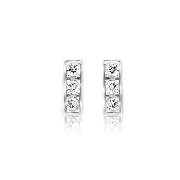 Mini Diamond White Gold Bar Earrings