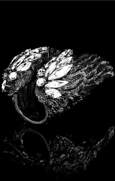 ANGELICA RING - ARMOR BLACK RHODIUM