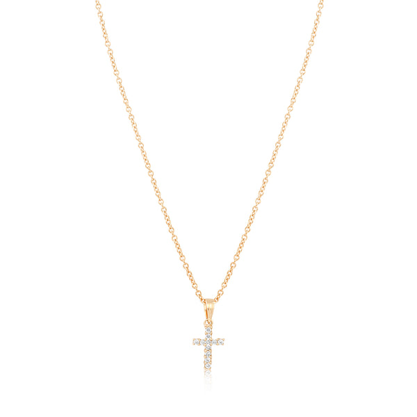 Classic Diamond Cross Necklace Yellow Gold