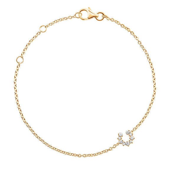 (PRE-ORDER) Petite Diamond Horseshoe Bracelet in Yellow Gold