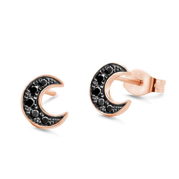 (PRE-ORDER) BLACK DIAMOND CRESCENT MOON EARRINGS