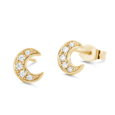 (PRE-ORDER) WHITE DIAMOND CRESCENT MOON EARRINGS