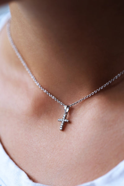Classic Diamond Cross Necklace White Gold