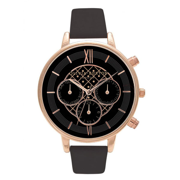 BIG DIAL CHRONO DETAIL BLACK AND ROSE GOLD