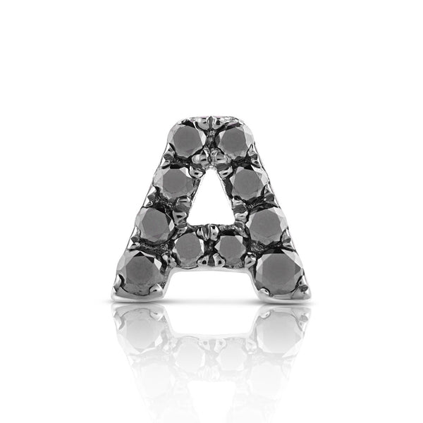 (PRE-ORDER) DIAMOND LETTER MONOGRAM EARRING BLACK