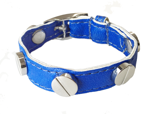 COBALT BLUE SILVER SCREW BRACELET