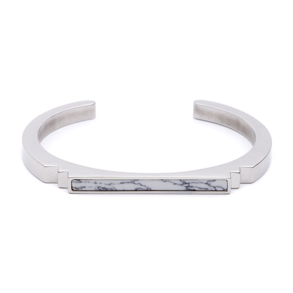 (PRE-ORDER) Deco Bangle - Marble and Silver