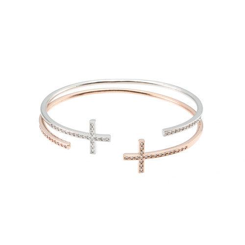 LUXE PAVE CRYSTALS CROSS CUFF