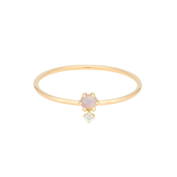 """Petite Cherie Duo"" Opal & White Diamond Ring"