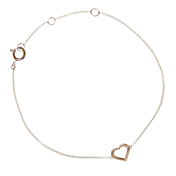 LOVE HEART CHARM BRACELET ROSE GOLD