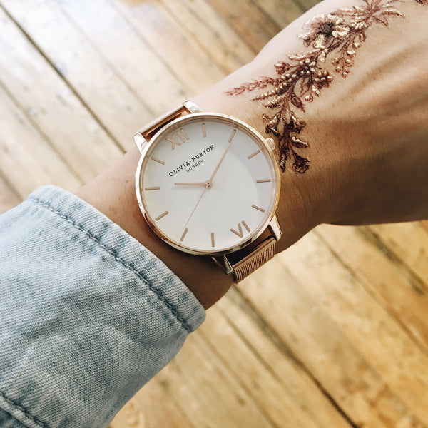 WHITE DIAL & ROSE GOLD MESH STRAP