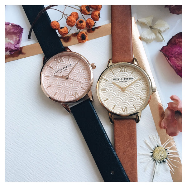 EMBOSSED SCALLOPED MIDI DIAL BLACK & ROSE GOLD