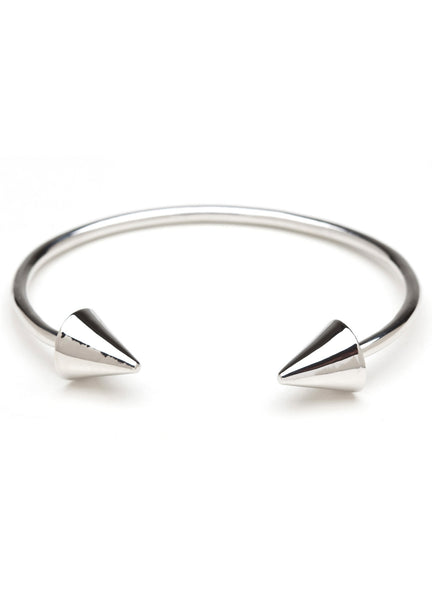 DOUBLE HEADER SPIKE BRACELET SILVER