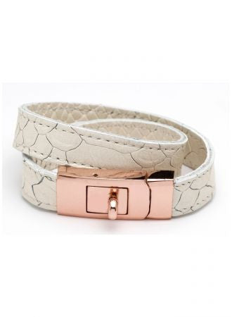 DOUBLE WRAP PORTICO LOCK LEATHER BRACELET WHITE PYTHON