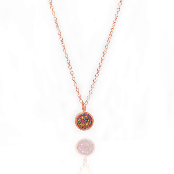 Druzy Pop Necklace - Peacock Quartz in Rose Gold